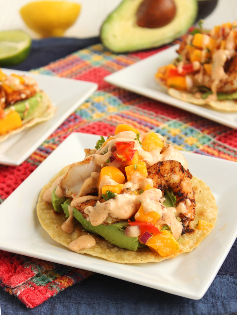 Grilled Shrimp and Avocado Tostadas with Mango Salsa and Chipotle ...