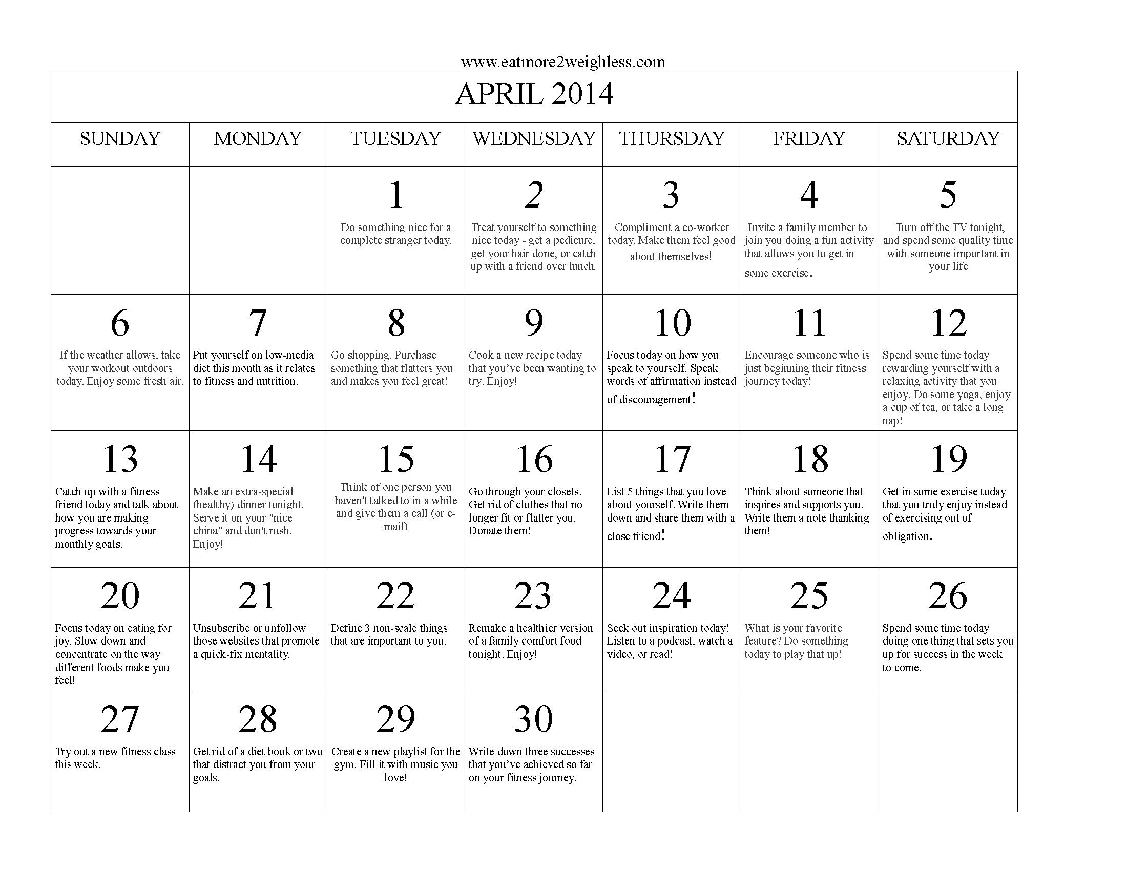April 2014 Challenge – Positive Thinking!